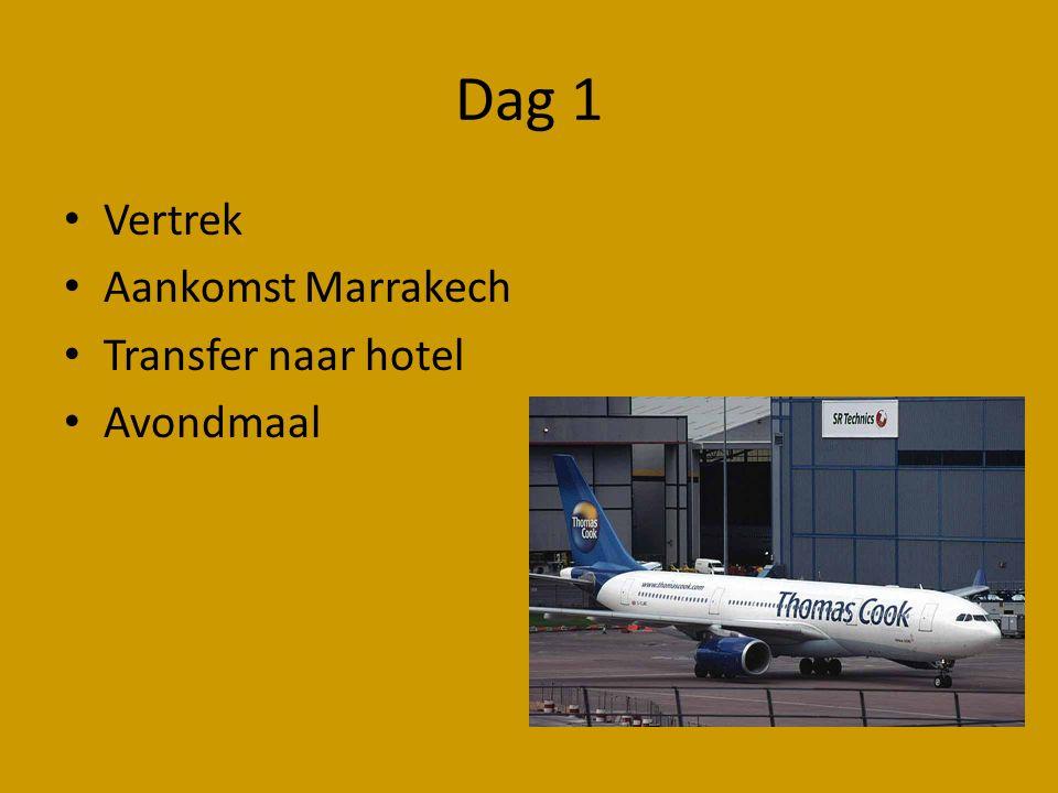Dag 1 Vertrek Aankomst Marrakech Transfer naar hotel Avondmaal