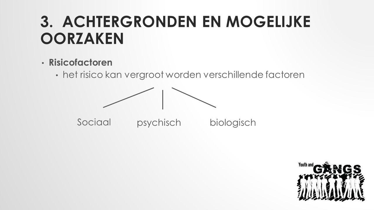 3. ACHTERGRONDEN EN MOGELIJKE OORZAKEN Risicofactoren het risico kan vergroot worden verschillende factoren Sociaal psychischbiologisch