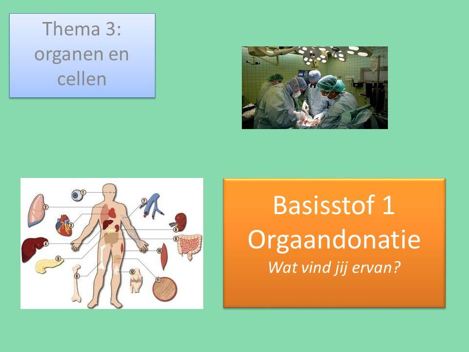 Basisstof 1 Orgaandonatie Wat vind jij ervan? Thema 3: organen en cellen