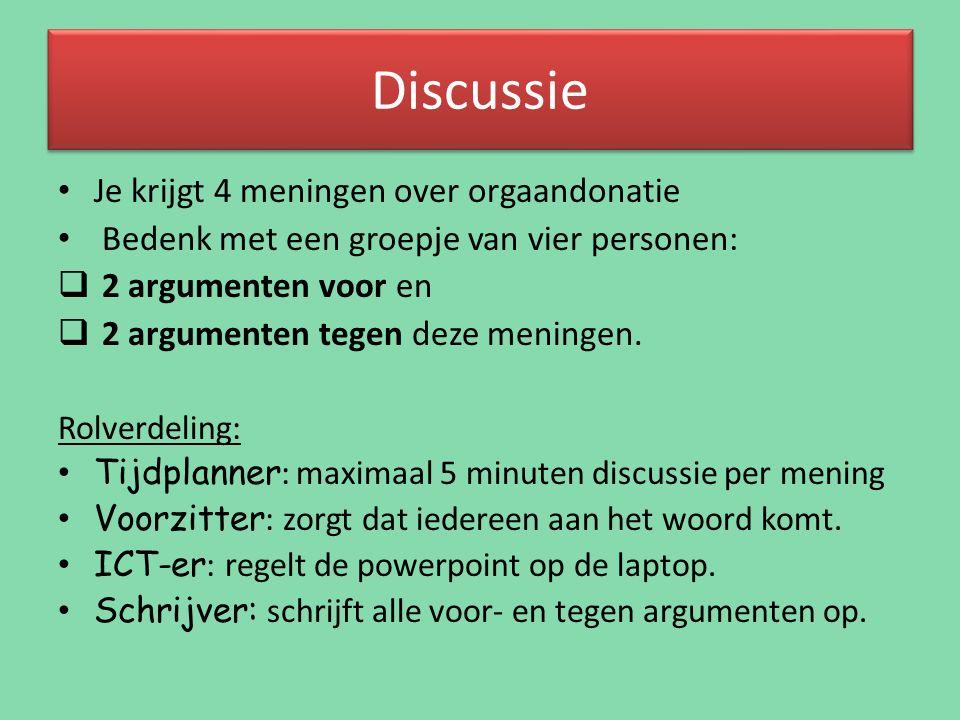 Discussie Je krijgt 4 meningen over orgaandonatie Bedenk met een groepje van vier personen:  2 argumenten voor en  2 argumenten tegen deze meningen.