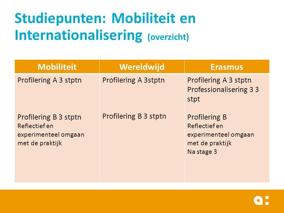MobiliteitWereldwijdErasmus Profilering A 3 stptn Profilering B 3 stptn Reflectief en experimenteel omgaan met de praktijk Profilering A 3stptn Profil