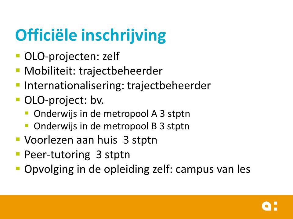  OLO-projecten: zelf  Mobiliteit: trajectbeheerder  Internationalisering: trajectbeheerder  OLO-project: bv.  Onderwijs in de metropool A 3 stptn
