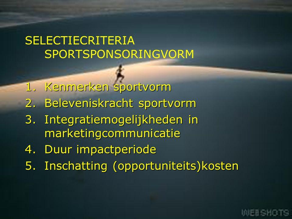 11 SELECTIECRITERIA SPORTSPONSORINGVORM 1.Kenmerken sportvorm 2.Beleveniskracht sportvorm 3.Integratiemogelijkheden in marketingcommunicatie 4.Duur impactperiode 5.Inschatting (opportuniteits)kosten