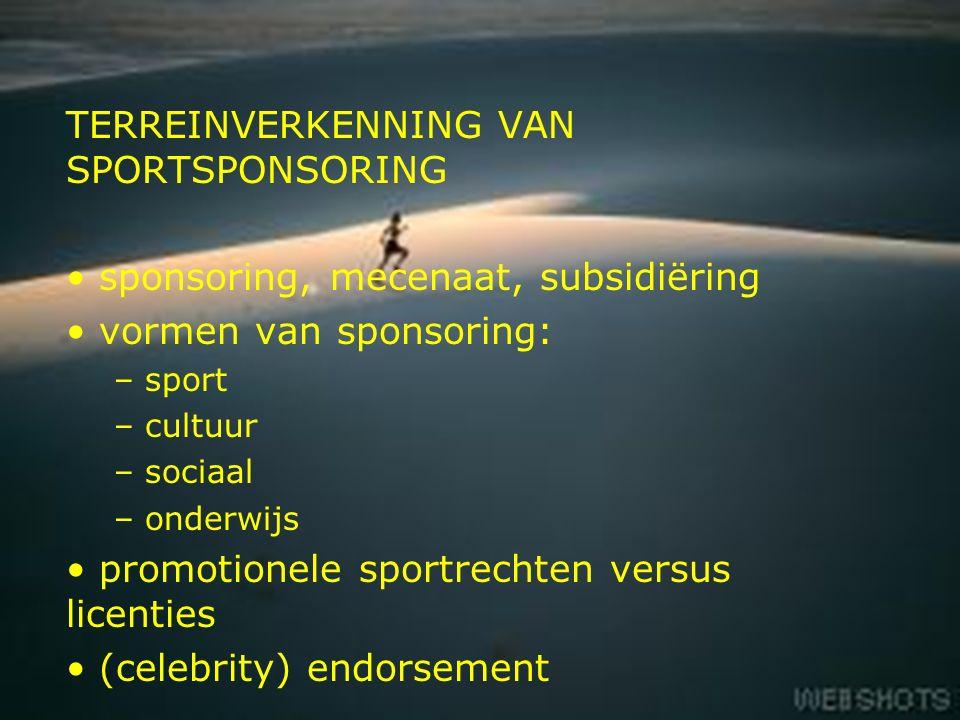 3 TERREINVERKENNING VAN SPORTSPONSORING sponsoring, mecenaat, subsidiëring vormen van sponsoring: – sport – cultuur – sociaal – onderwijs promotionele sportrechten versus licenties (celebrity) endorsement