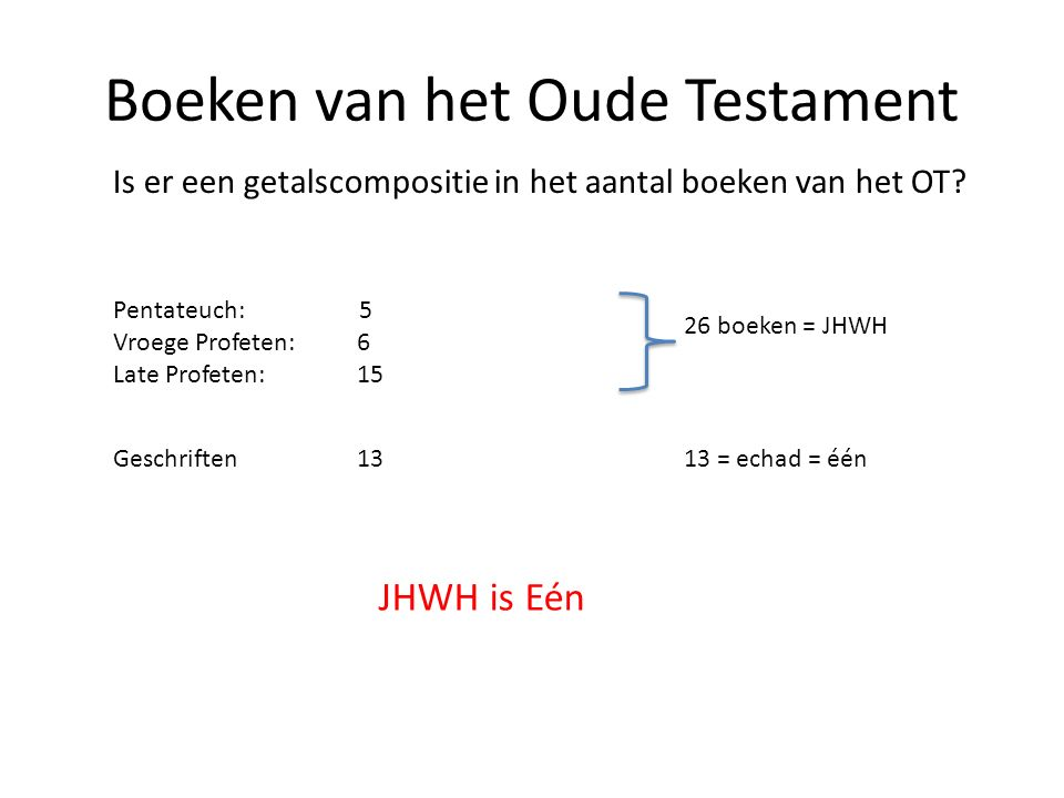 Boeken van het Oude Testament Is er een getalscompositie in het aantal boeken van het OT.