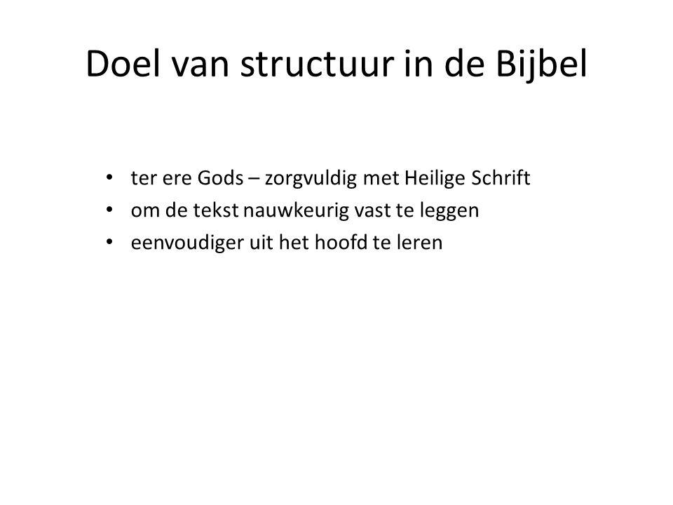 Doel van structuur in de Bijbel ter ere Gods – zorgvuldig met Heilige Schrift om de tekst nauwkeurig vast te leggen eenvoudiger uit het hoofd te leren