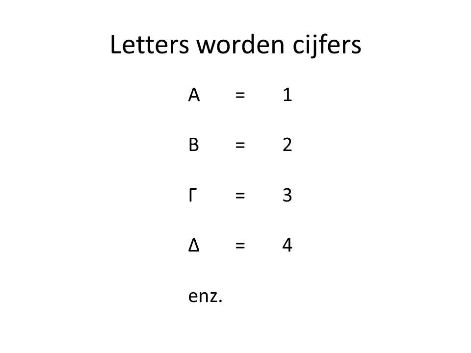 Letters worden cijfers A = 1 B= 2 Γ= 3 Δ=4 enz.