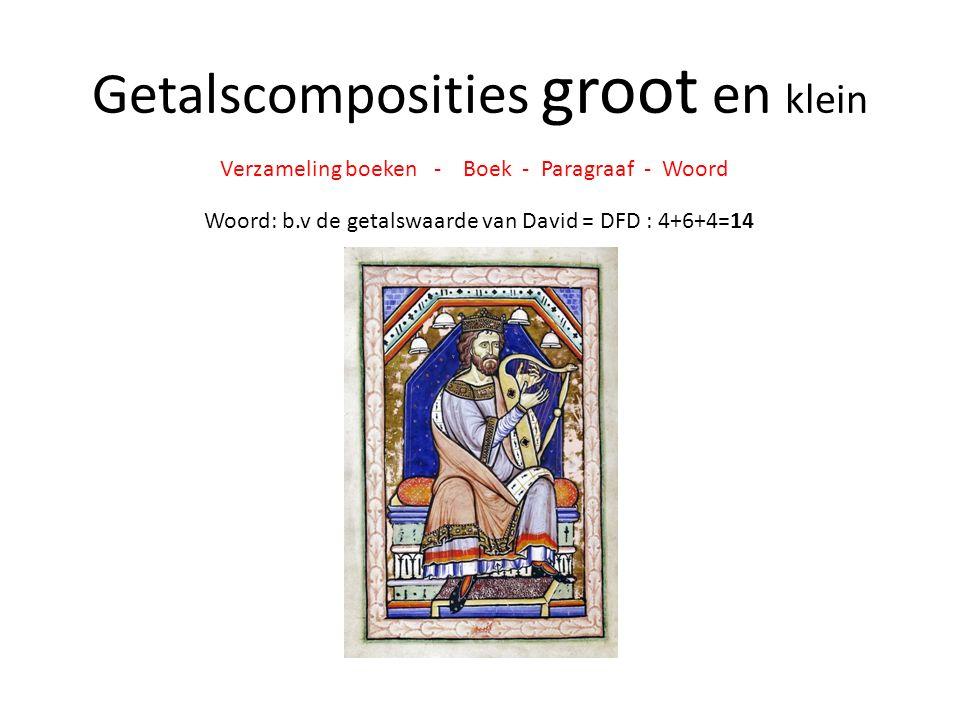 Getalscomposities groot en klein Verzameling boeken - Boek - Paragraaf - Woord Woord: b.v de getalswaarde van David = DFD : 4+6+4=14