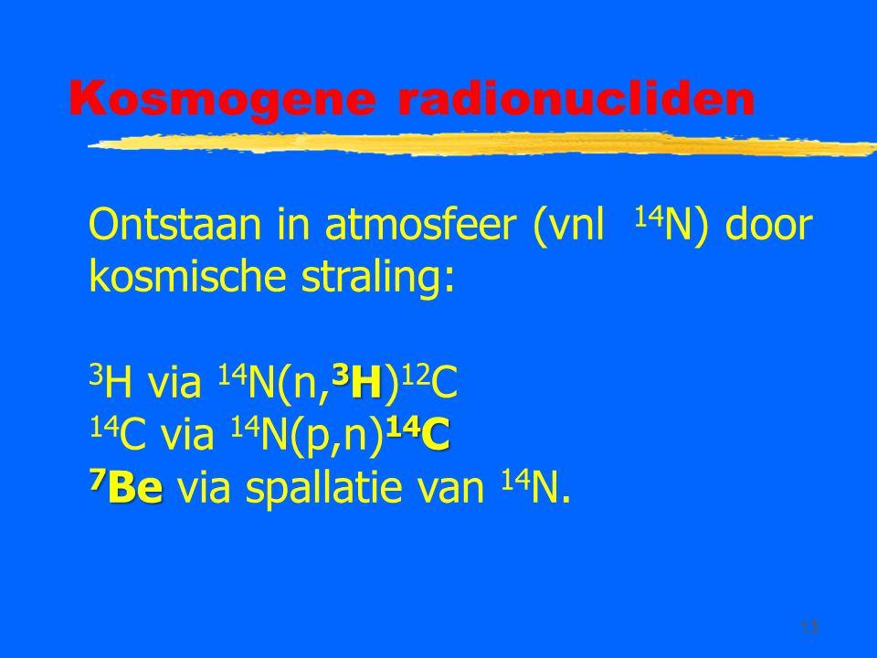 13 Kosmogene radionucliden Ontstaan in atmosfeer (vnl 14 N) door kosmische straling: 3 H 3 H via 14 N(n, 3 H) 12 C 14 C 14 C via 14 N(p,n) 14 C 7 Be 7 Be via spallatie van 14 N.