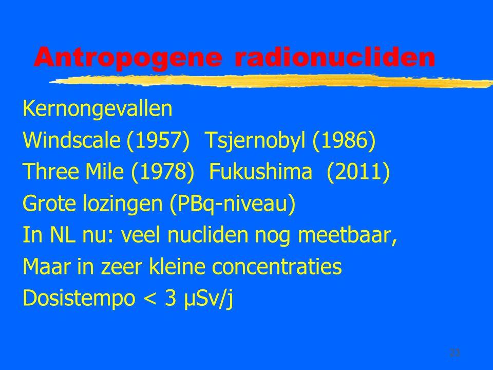 23 Antropogene radionucliden Kernongevallen Windscale (1957) Tsjernobyl (1986) Three Mile (1978) Fukushima (2011) Grote lozingen (PBq-niveau) In NL nu: veel nucliden nog meetbaar, Maar in zeer kleine concentraties Dosistempo < 3 µSv/j