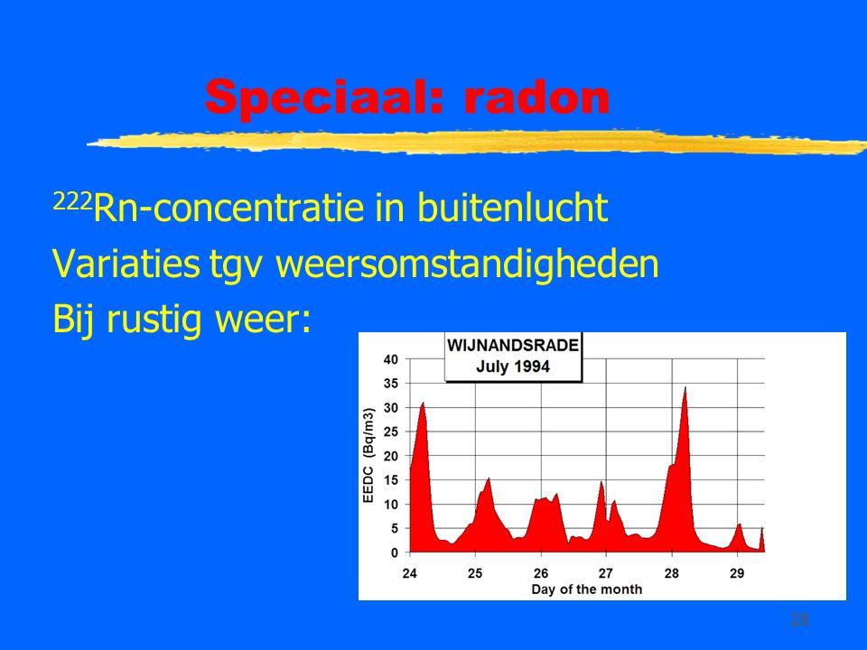 28 Speciaal: radon 222 Rn-concentratie in buitenlucht Variaties tgv weersomstandigheden Bij rustig weer: