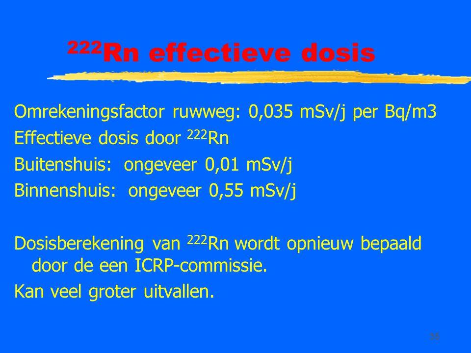 35 222 Rn effectieve dosis Omrekeningsfactor ruwweg: 0,035 mSv/j per Bq/m3 Effectieve dosis door 222 Rn Buitenshuis: ongeveer 0,01 mSv/j Binnenshuis: ongeveer 0,55 mSv/j Dosisberekening van 222 Rn wordt opnieuw bepaald door de een ICRP-commissie.