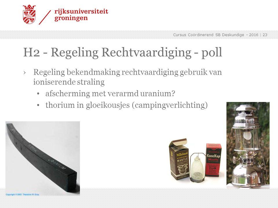 H2 - Regeling Rechtvaardiging - poll ›Regeling bekendmaking rechtvaardiging gebruik van ioniserende straling afscherming met verarmd uranium? thorium