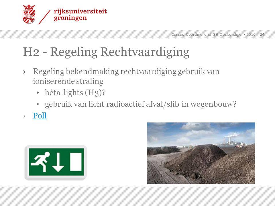 H2 - Regeling Rechtvaardiging ›Regeling bekendmaking rechtvaardiging gebruik van ioniserende straling bèta-lights (H3)? gebruik van licht radioactief