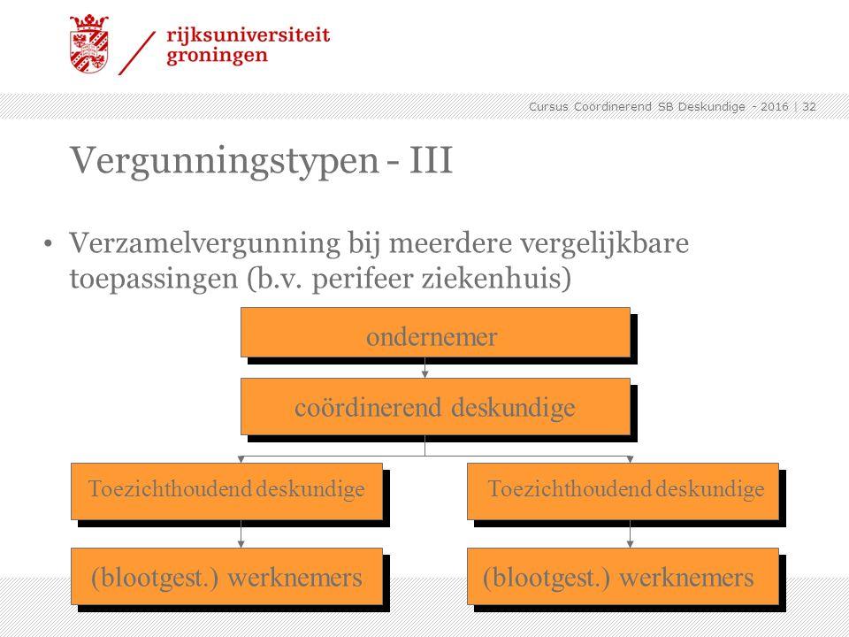 Verzamelvergunning bij meerdere vergelijkbare toepassingen (b.v. perifeer ziekenhuis) Vergunningstypen - III ondernemer coördinerend deskundige Toezic