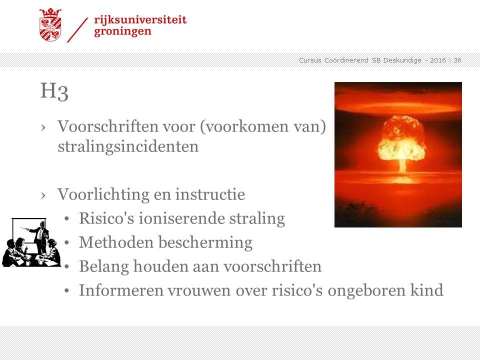 ›Voorschriften voor (voorkomen van) stralingsincidenten ›Voorlichting en instructie Risico's ioniserende straling Methoden bescherming Belang houden a