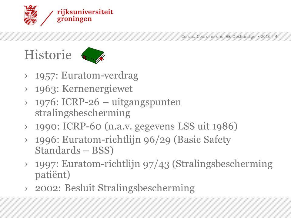›1957: Euratom-verdrag ›1963: Kernenergiewet ›1976: ICRP-26 – uitgangspunten stralingsbescherming ›1990: ICRP-60 (n.a.v. gegevens LSS uit 1986) ›1996: