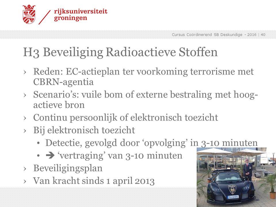 ›Reden: EC-actieplan ter voorkoming terrorisme met CBRN-agentia ›Scenario's: vuile bom of externe bestraling met hoog- actieve bron ›Continu persoonli