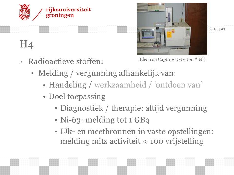 ›Radioactieve stoffen: Melding / vergunning afhankelijk van: Handeling / werkzaamheid / 'ontdoen van' Doel toepassing Diagnostiek / therapie: altijd v
