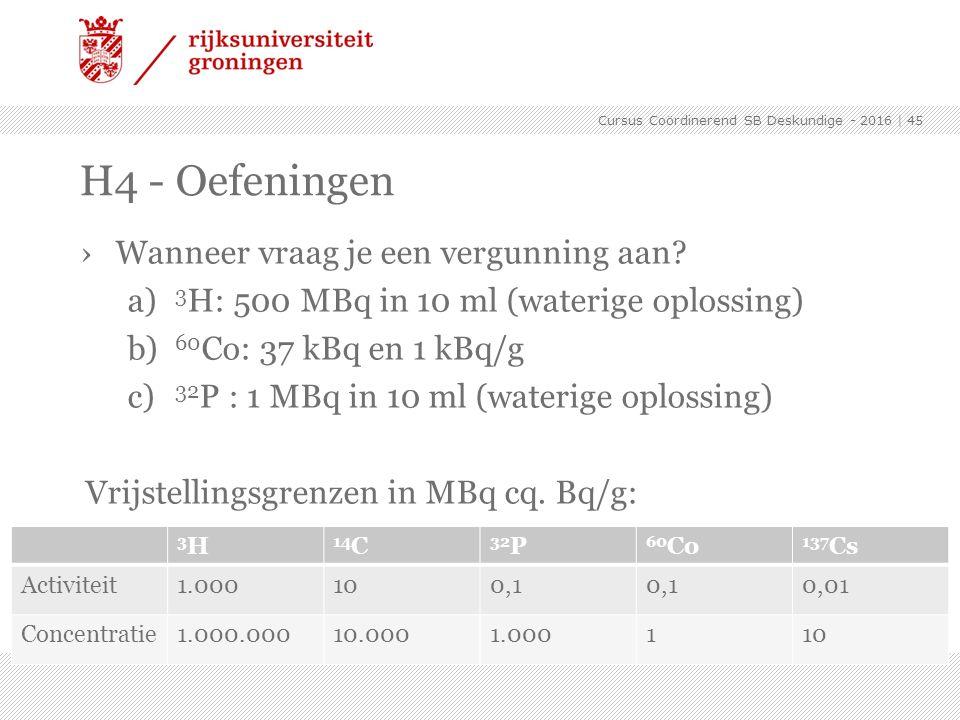›Wanneer vraag je een vergunning aan? a) 3 H: 500 MBq in 10 ml (waterige oplossing) b) 60 Co: 37 kBq en 1 kBq/g c) 32 P : 1 MBq in 10 ml (waterige opl