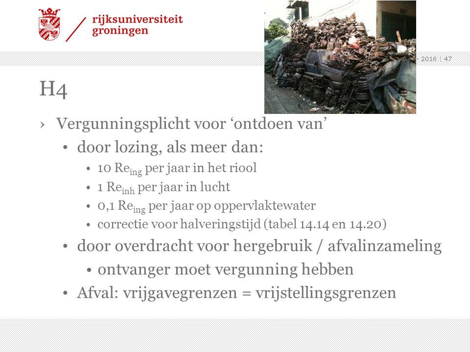 ›Vergunningsplicht voor 'ontdoen van' door lozing, als meer dan: 10 Re ing per jaar in het riool 1 Re inh per jaar in lucht 0,1 Re ing per jaar op opp