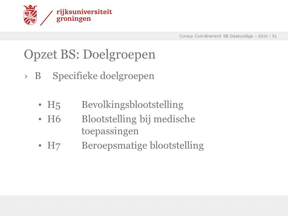 ›BSpecifieke doelgroepen H5Bevolkingsblootstelling H6Blootstelling bij medische toepassingen H7Beroepsmatige blootstelling   51 Opzet BS: Doelgroepen