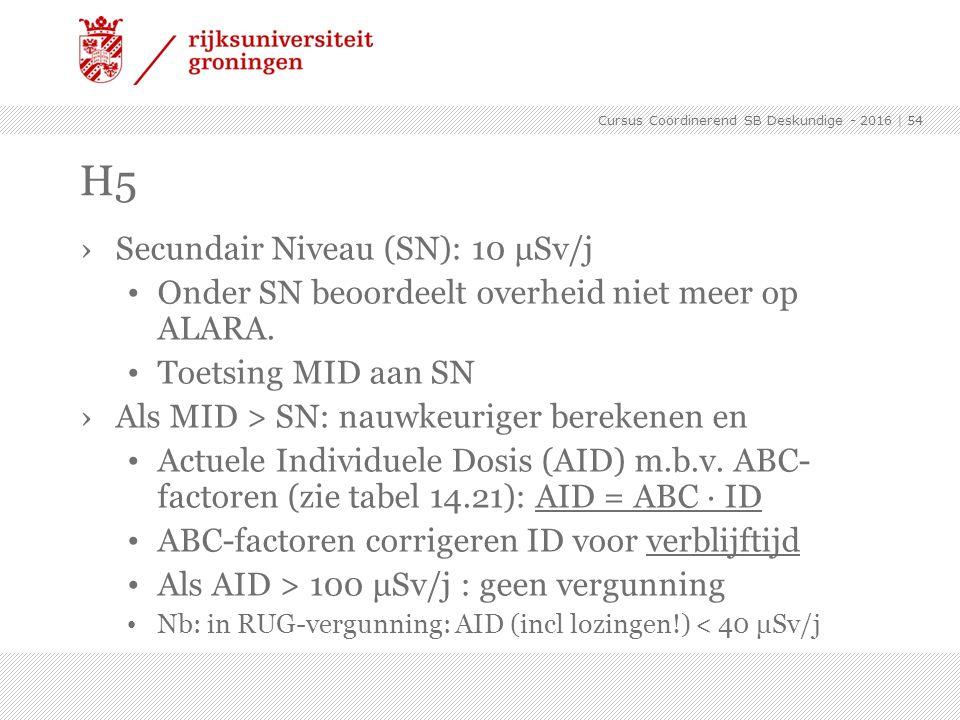 ›Secundair Niveau (SN): 10 μSv/j Onder SN beoordeelt overheid niet meer op ALARA. Toetsing MID aan SN ›Als MID > SN: nauwkeuriger berekenen en Actuele