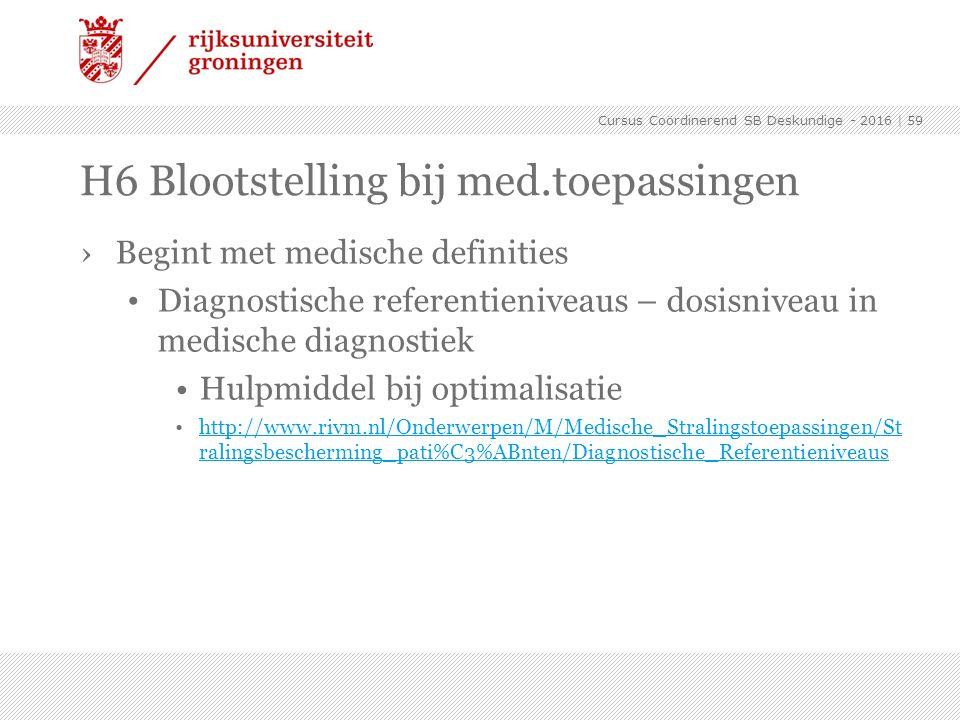 ›Begint met medische definities Diagnostische referentieniveaus – dosisniveau in medische diagnostiek Hulpmiddel bij optimalisatie http://www.rivm.nl/