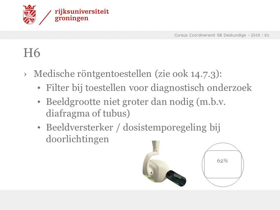 ›Medische röntgentoestellen (zie ook 14.7.3): Filter bij toestellen voor diagnostisch onderzoek Beeldgrootte niet groter dan nodig (m.b.v. diafragma o