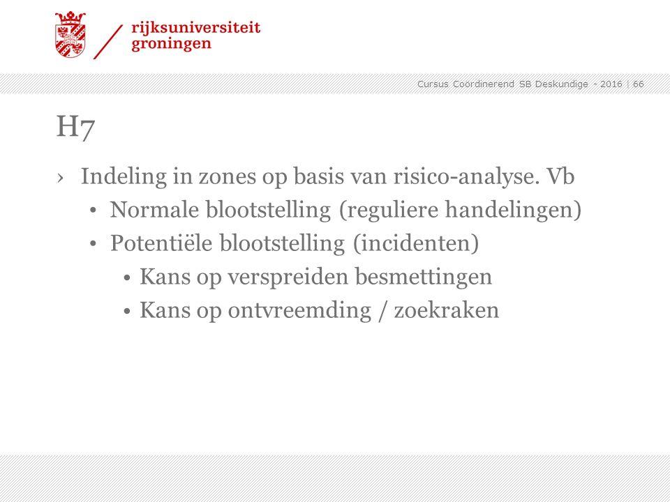 ›Indeling in zones op basis van risico-analyse. Vb Normale blootstelling (reguliere handelingen) Potentiële blootstelling (incidenten) Kans op verspre