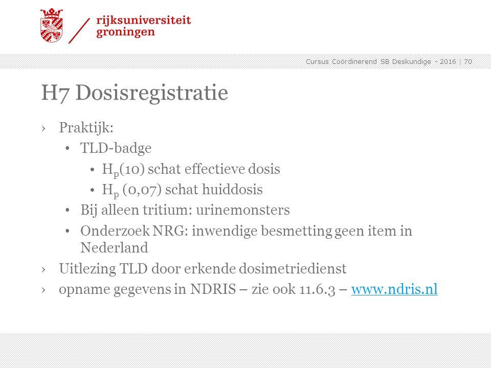›Praktijk: TLD-badge H p (10) schat effectieve dosis H p (0,07) schat huiddosis Bij alleen tritium: urinemonsters Onderzoek NRG: inwendige besmetting
