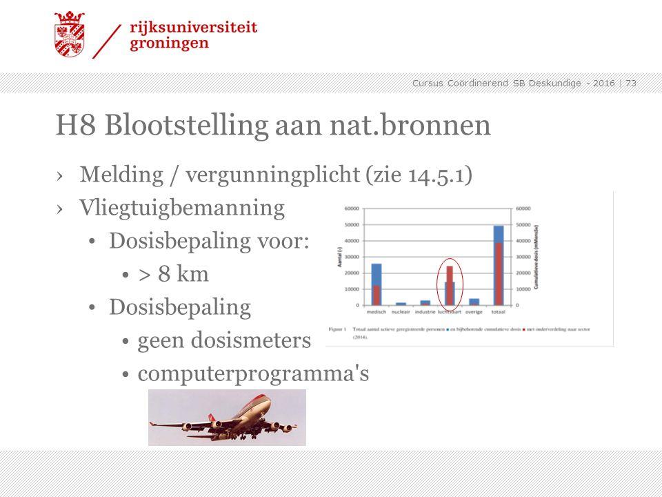 ›Melding / vergunningplicht (zie 14.5.1) ›Vliegtuigbemanning Dosisbepaling voor: > 8 km Dosisbepaling geen dosismeters computerprogramma's   73 H8 Blo