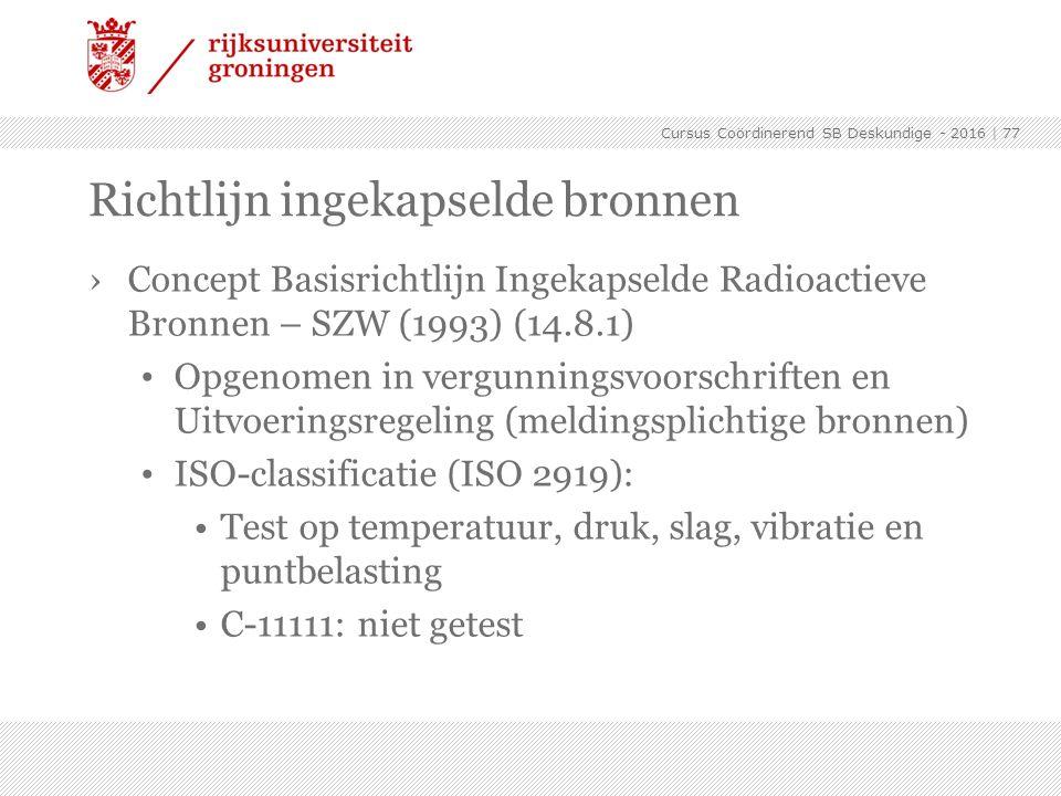 ›Concept Basisrichtlijn Ingekapselde Radioactieve Bronnen – SZW (1993) (14.8.1) Opgenomen in vergunningsvoorschriften en Uitvoeringsregeling (meldings