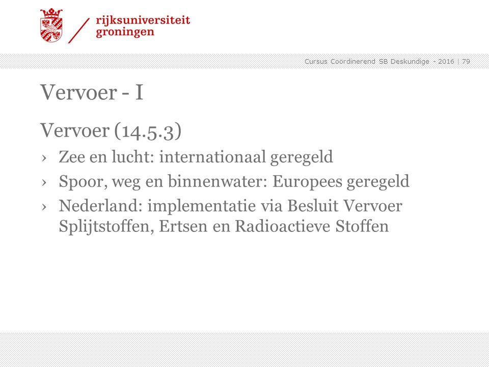 Vervoer (14.5.3) ›Zee en lucht: internationaal geregeld ›Spoor, weg en binnenwater: Europees geregeld ›Nederland: implementatie via Besluit Vervoer Sp