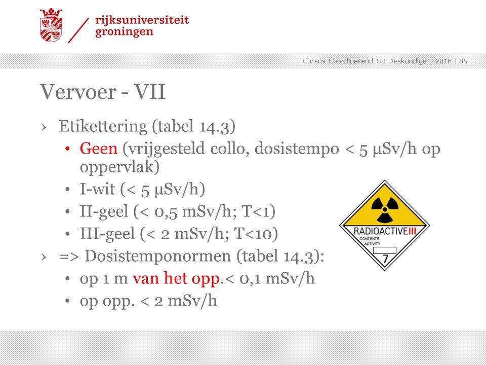 ›Etikettering (tabel 14.3) Geen (vrijgesteld collo, dosistempo < 5 μSv/h op oppervlak) I-wit (< 5 μSv/h) II-geel (< 0,5 mSv/h; T<1) III-geel (< 2 mSv/