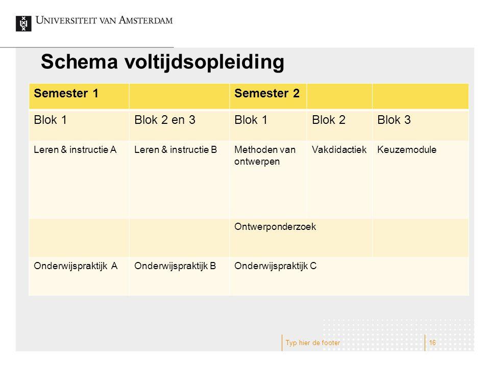 Schema voltijdsopleiding Semester 1Semester 2 Blok 1Blok 2 en 3Blok 1Blok 2Blok 3 Leren & instructie ALeren & instructie BMethoden van ontwerpen Vakdi