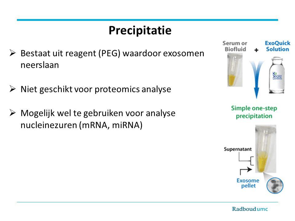  Bestaat uit reagent (PEG) waardoor exosomen neerslaan  Niet geschikt voor proteomics analyse  Mogelijk wel te gebruiken voor analyse nucleinezuren (mRNA, miRNA) Precipitatie