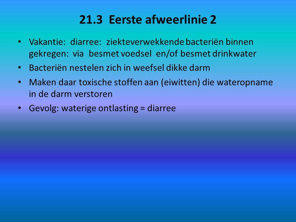 21.3 Eerste afweerlinie 2 Vakantie: diarree: ziekteverwekkende bacteriën binnen gekregen: via besmet voedsel en/of besmet drinkwater Bacteriën nestele