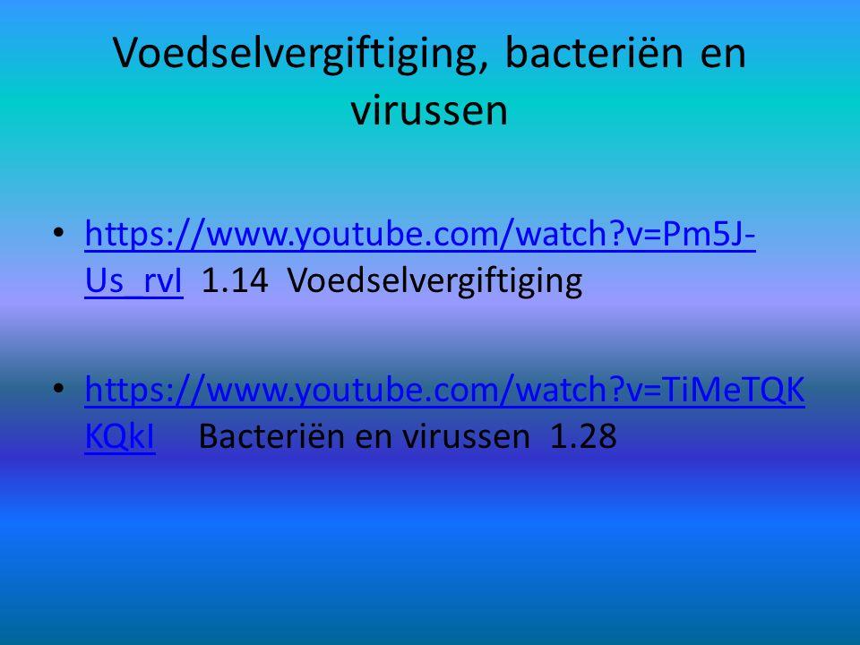 Voedselvergiftiging, bacteriën en virussen https://www.youtube.com/watch?v=Pm5J- Us_rvI 1.14 Voedselvergiftiging https://www.youtube.com/watch?v=Pm5J-