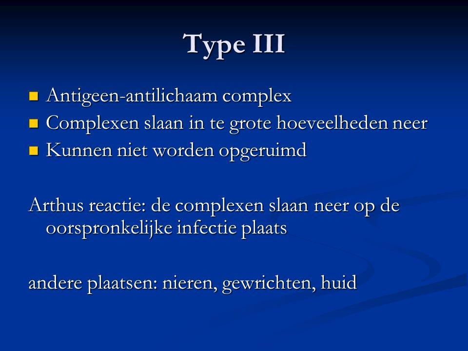 Type III Antigeen-antilichaam complex Antigeen-antilichaam complex Complexen slaan in te grote hoeveelheden neer Complexen slaan in te grote hoeveelhe