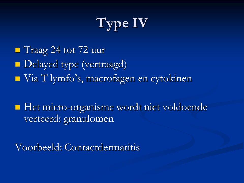 Type IV Traag 24 tot 72 uur Traag 24 tot 72 uur Delayed type (vertraagd) Delayed type (vertraagd) Via T lymfo's, macrofagen en cytokinen Via T lymfo's, macrofagen en cytokinen Het micro-organisme wordt niet voldoende verteerd: granulomen Het micro-organisme wordt niet voldoende verteerd: granulomen Voorbeeld: Contactdermatitis