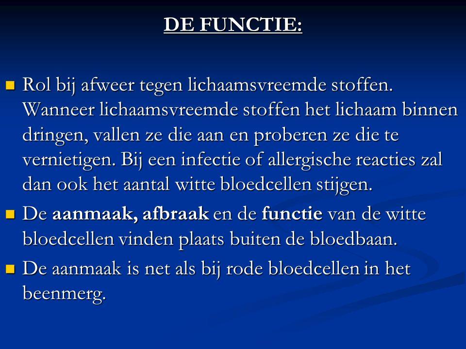 DE FUNCTIE: Rol bij afweer tegen lichaamsvreemde stoffen. Wanneer lichaamsvreemde stoffen het lichaam binnen dringen, vallen ze die aan en proberen ze