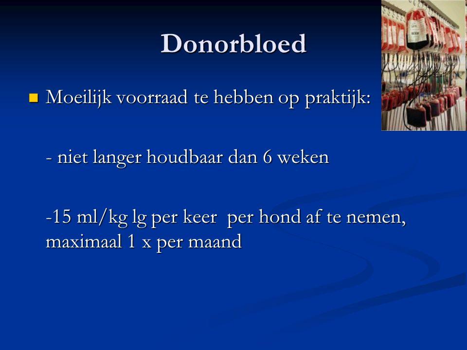 Donorbloed Moeilijk voorraad te hebben op praktijk: Moeilijk voorraad te hebben op praktijk: - niet langer houdbaar dan 6 weken -15 ml/kg lg per keer per hond af te nemen, maximaal 1 x per maand
