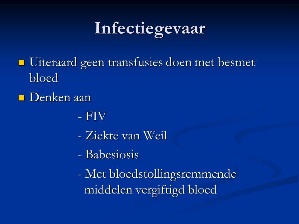 Infectiegevaar Uiteraard geen transfusies doen met besmet bloed Uiteraard geen transfusies doen met besmet bloed Denken aan Denken aan - FIV - Ziekte van Weil - Babesiosis - Met bloedstollingsremmende middelen vergiftigd bloed