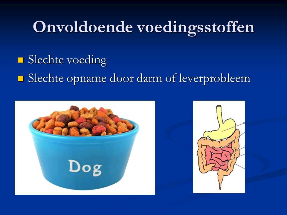 Onvoldoende voedingsstoffen Slechte voeding Slechte voeding Slechte opname door darm of leverprobleem Slechte opname door darm of leverprobleem