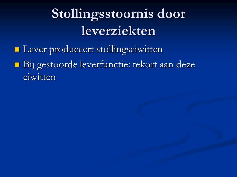 Stollingsstoornis door leverziekten Lever produceert stollingseiwitten Lever produceert stollingseiwitten Bij gestoorde leverfunctie: tekort aan deze eiwitten Bij gestoorde leverfunctie: tekort aan deze eiwitten