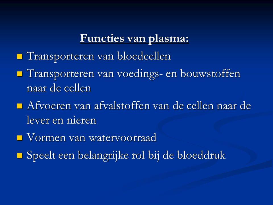 Functies van plasma: Transporteren van bloedcellen Transporteren van bloedcellen Transporteren van voedings- en bouwstoffen naar de cellen Transporteren van voedings- en bouwstoffen naar de cellen Afvoeren van afvalstoffen van de cellen naar de lever en nieren Afvoeren van afvalstoffen van de cellen naar de lever en nieren Vormen van watervoorraad Vormen van watervoorraad Speelt een belangrijke rol bij de bloeddruk Speelt een belangrijke rol bij de bloeddruk