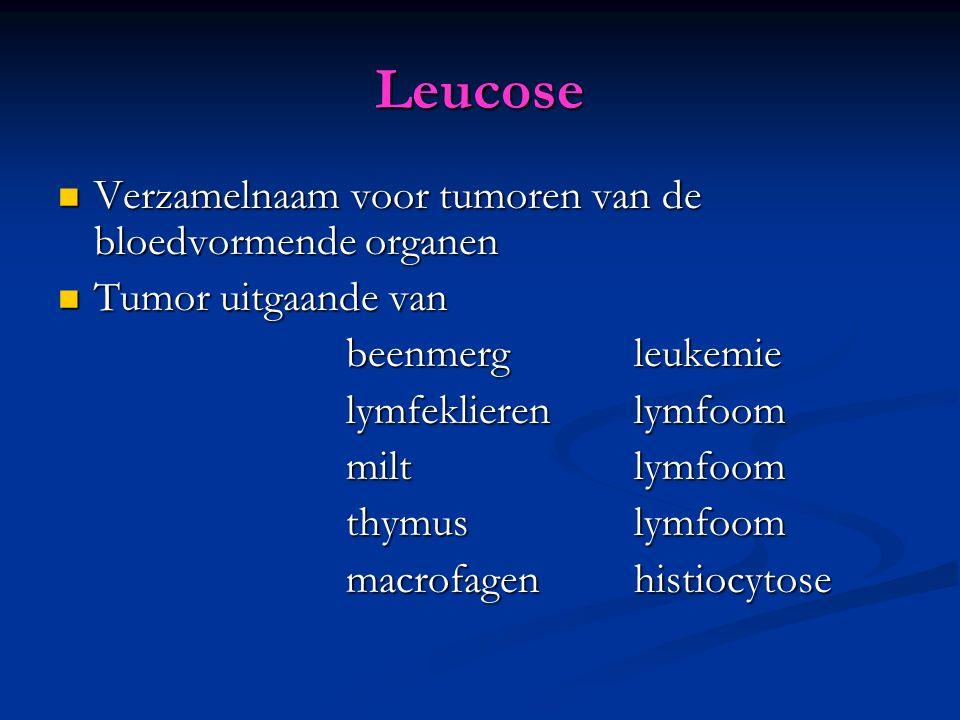 Leucose Verzamelnaam voor tumoren van de bloedvormende organen Verzamelnaam voor tumoren van de bloedvormende organen Tumor uitgaande van Tumor uitgaande van beenmerg leukemie beenmerg leukemie lymfeklieren lymfoom miltlymfoom miltlymfoom thymuslymfoom thymuslymfoom macrofagenhistiocytose macrofagenhistiocytose
