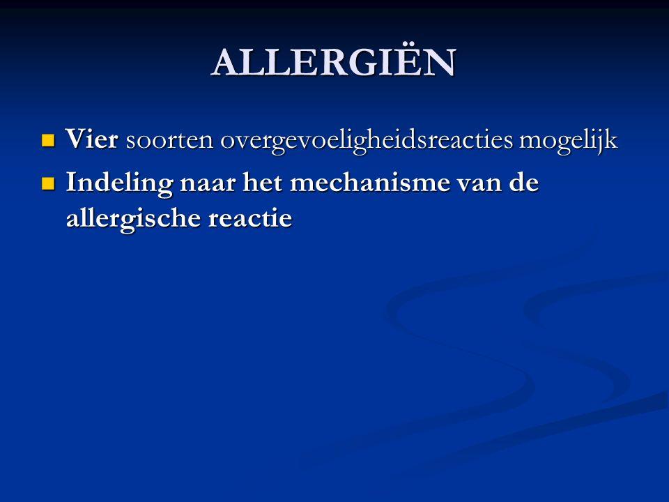 ALLERGIËN Vier soorten overgevoeligheidsreacties mogelijk Vier soorten overgevoeligheidsreacties mogelijk Indeling naar het mechanisme van de allergische reactie Indeling naar het mechanisme van de allergische reactie