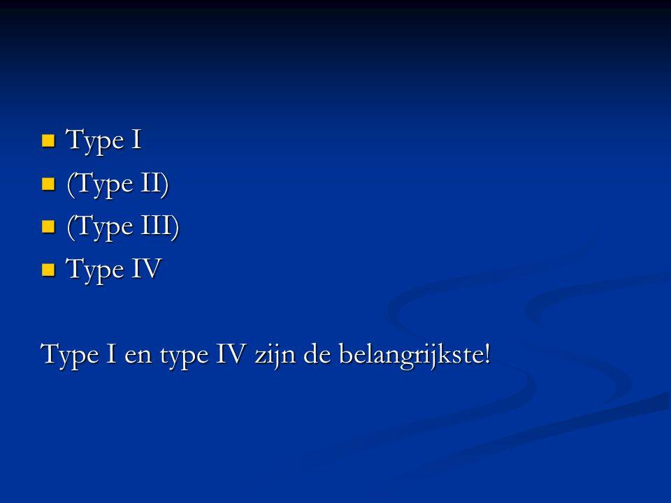 Type I Type I (Type II) (Type II) (Type III) (Type III) Type IV Type IV Type I en type IV zijn de belangrijkste!